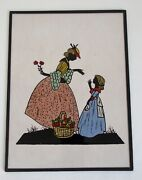 Art Deco Vintage Reverse Painted On Glass Silhouette Picture - Lady And Girl