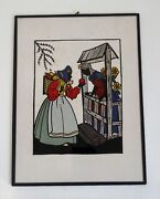 Art Deco Vintage Reverse Painted On Glass Silhouette Picture - Snow White
