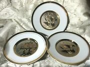 Three 3 Art Of Chokin Plates With Flowers 24k Gold Trim Made In Japan 7 3/4''