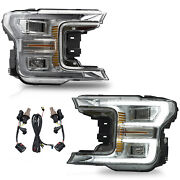 Customized Chrome Full Led Headlights W/ Sequential Turn Signal For 18-20 F-150