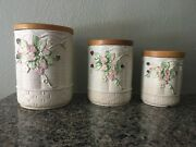 Set Of 3 Vintage Italian Ceramic Kitchen Canisters Storage Jars By Lord And Taylor