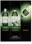 1992 Tanqueray Gin Future Present Past Green Bottle Vintage Print Advertisement