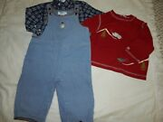 Euc Janie And Jack 6-12 Months 3 Pc Vtg Snowman And Winter Shirt Overalls Cord