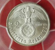 Pcgs Ms-63 Nazi Swastika 1938-d 2 Reichsmark Silver Coin-germany 3rd-reich Mint
