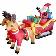 Inflatable Led Glowing Santa Elk Sleigh For Diy Holiday Christmas Props Decor