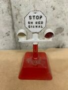 Vintage S Guage Train Plastic Railroad Crossing Sign Stop On Red Signal Ho Scale