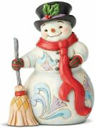 Heartwood Creek By Jim Shore Snowman With Broom/scarf Figurine