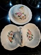 Vintage House Of Webster Ceramics Wild Briar Rose Double-bowl And Lidded Dish