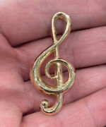 James Avery 14k Yellow Gold Treble Clef Brooch Retired