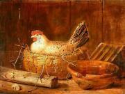 High Quality Oil Painting 100 Handpainted On Canvas A Hen On The Nest