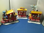 Disney Christmas 2000 Train - Wind Up Music Box And Animated Characters - 3 Pc.