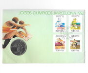 Portugal 200 Escudos 1992 Km662 Olympic Games Barcelona Fdc And Stamps. B17