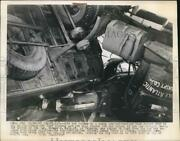1947 Press Photo Car Crushed By Tractor-trailer In Wreck, Albany New York