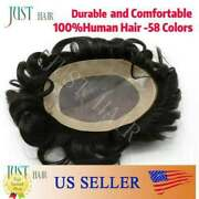 Fine Mono Mens Toupee Hairpiece Poly Skin Hair Replacement Durable Pu Systemd7-3