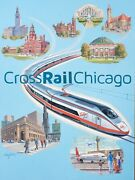 Crossrail Chicago Railroad Trains Connecting The City Original Watercolor