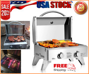Tabletop Propane Gas Grill Stove Bbq Stainless Steel 2-burner Outdoor Grills