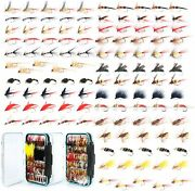 120 Fly Assortment - Nymphs Dry Flies And Streamers W/ Case