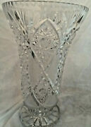 Rare Antique 14 1/2 Tall American Brilliant Crystal Vase-6 To 9 Inches Wide