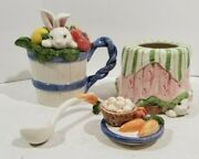 Fitz And Floyd Bunny Rabbit Creamer, Sugar Bowl W Spoon And Lid 1993 Easter Garden