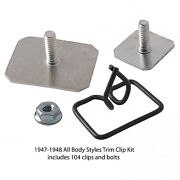 1947 1948 Ford Car Complete Body Stainless Trim Moulding Clip Set 6a-20000-a