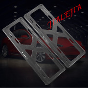 For Tesla Model S X Real Carbon Fiber License Plate Frame Cover Accessories 2pcs