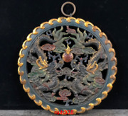 Rare China Antique Hollowing Out Wood Tire Lacquer Ware Two Dragons Hanging Pane