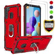 For Samsung Galaxy A11 A21 Case Ring Kickstand Cover + Tempered Glass Protector