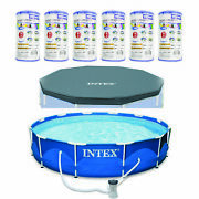 Metal Frame Above Ground Swimming Pool W/pump Filter Cartridge6 Packand Cover