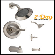 Single Handle Tub And Shower Faucet Trim Kit With Single-spray Shower Head Nickel