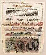 Ireland 1979 . 1 - 100 Pounds Banknotes . Specimen . With Certificate