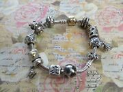 Genuine Pandora Sterling Silver Bracelet With Gold Clasp 10 Charms 3 Spacers