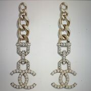 100 Authentic 2020 Big With Pearls Gold Earings/nib With Receipt