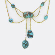 Antique Rough Turquoise Drop Necklace 9ct Yellow Gold