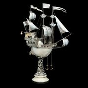 Pearl Fancy Ship 925 Sterling Silver Fabergandeacute Style Figurine Decorated With Gems