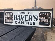 """Vintage Tin And Wood Sign Haver's Candy Light Lunch Tappan Ny 72 X 24"""" Molded Edge"""