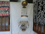 Antique Bradley And Hubbard Haning Oil Lamp White Glass Shade Smoke Bell 16t 14d