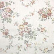 1980s Floral Vintage Wallpaper Rust Red Yellow And Green Cabbage Roses On Beige