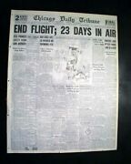 Best Hunter Brothers Airplane City Of Chicago Flight Time Record 1930 Newspaper