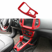 For 2017 2018-2020 Jeep Compass Red Carbon Fiber Console Gear Shift Frame Trim