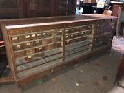 """Vintage Oak Hardware Store Counter Cabinet Galvanized Drawers 94"""" X 33""""h X 25.75"""