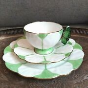 Rare Green And White Aynsley Butterfly Handle Art Deco Teacup Saucer Side Plate