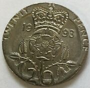 Great Britain 1993 . 20 Pence Coin . Error . On Round 5 Pence Planchet