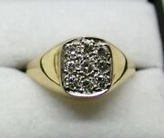 1970and039s Vintage Gents 18 Carat Gold Diamond Signet Ring Size T