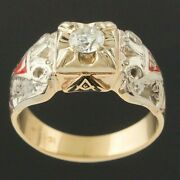 Two Tone Solid 10k Gold, Diamond And Enamel, Masonic Double Eagle 32nd Degree Ring
