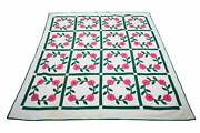 Penny Marshall Estate Floral Wreath Quilt With Decorative Stitching
