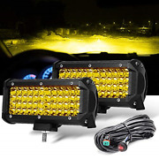 2 Pc 288w 7 Yellow Fog Light Led Driving Lamp With Wiring Harness, 12ft /2 Lead