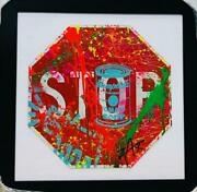 E.m. Zax Stop Hand Painted Original On Metal