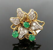 Vintage 1.50ct Diamond And 2.0ct Emerald 18k Yellow Gold Flower Ring