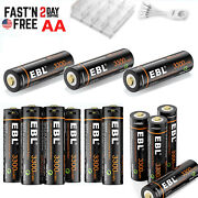 Ebl Rechargeable Aa Lithium Batteries 1.5v 3300mwh Li-ion + Micro Usb Cable Lot