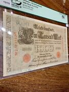 Collectible Banknote Germany. 1000 Mark. 1910 Pcgs Graded 58 Choice About New.